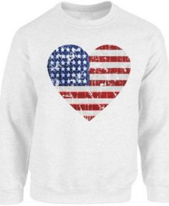 Heart USA Flag Sweatshirt EL6F0