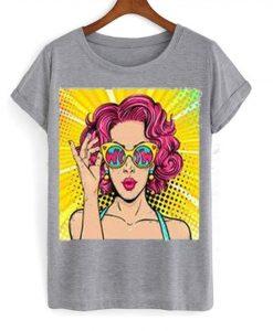 Wow pop art face t-shirt FD6F0