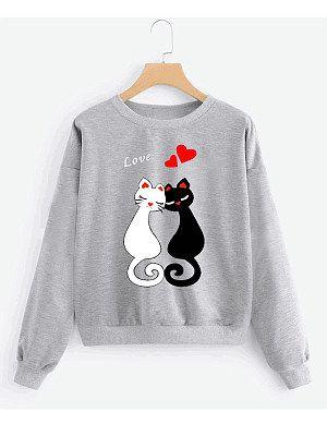 Black White Cat LOve Sweatshirt YT18M0